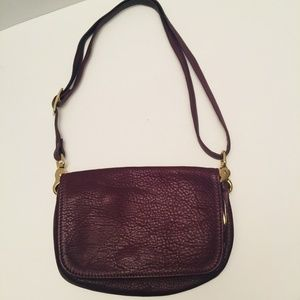 Pebbled Leather Double Strap Hand Bag Clutch